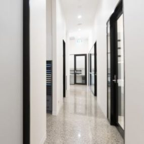 Polished concrete gloss floor dental clinic