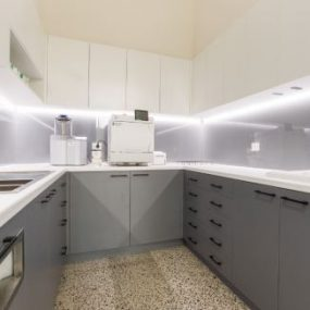 Kitchen with polished concrete floor