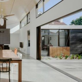 Interior polished concrete open plan residential